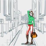 Serie de la moda urbana. Panorama de la calle y delgado  libre illustration