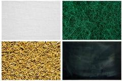 Serie de la textura - lanas de acero, gusano de harina, lona de lino, pizarra sucia Imagen de archivo libre de regalías