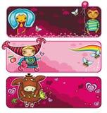 Serie de las banderas de la tarjeta del día de San Valentín Imágenes de archivo libres de regalías