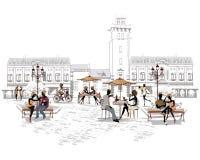 Serie de las calles con la gente en la ciudad vieja, café de la calle stock de ilustración