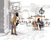 Serie de las calles con los músicos en la ciudad vieja ilustración del vector