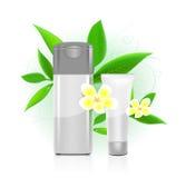 Serie de los cosméticos del BALNEARIO. botellas de los cosméticos Imagen de archivo