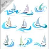 Serie de los gráficos del mar - iconos superiores del viaje por mar Imágenes de archivo libres de regalías