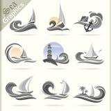 Serie de los gráficos del mar - iconos superiores del viaje por mar Fotos de archivo