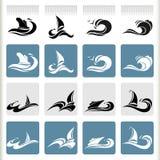 Serie de los gráficos del mar - iconos superiores del viaje por mar Foto de archivo libre de regalías