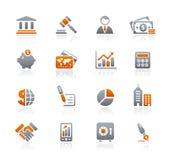 Serie de los iconos del grafito de // del asunto y de las finanzas stock de ilustración