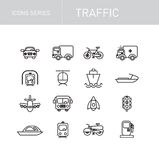 Serie de los iconos del tráfico aislada en blanco Fotos de archivo