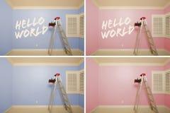 Serie de maternidad de cuartos vacíos rosados y azules Fotos de archivo