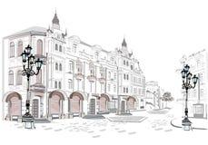 Serie de opiniones de la calle en la ciudad vieja ilustración del vector