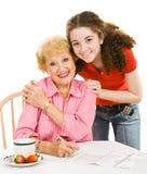 Serie de votación - abuela y adolescente Foto de archivo libre de regalías