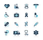 Serie del azul de // del cuidado de la medicina y del brezo stock de ilustración