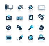 Serie del azul de // del ordenador y de los dispositivos ilustración del vector