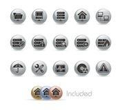 Serie del botón del metal de // de la red y del servidor