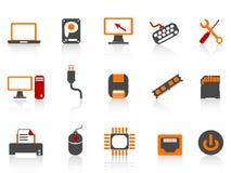 Serie del color del icono del material informático Foto de archivo libre de regalías