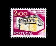 Serie del comune, dei paesaggi e dei monumenti di Braganca, circa 1978 Immagini Stock Libere da Diritti