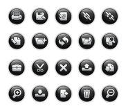 Serie del contrassegno del nero di // delle icone dell'interfaccia Fotografie Stock Libere da Diritti