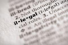 Serie del diccionario - ley: ilegal Fotos de archivo libres de regalías