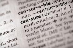 Serie del diccionario - política: censura Imagen de archivo libre de regalías