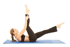 Serie del ejercicio de Pilates Imagen de archivo libre de regalías