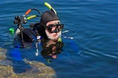 Serie del equipo de submarinismo Fotos de archivo libres de regalías