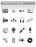 Serie del icono de Silvero - multimedia y electrónico Foto de archivo libre de regalías