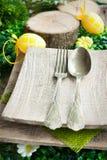 Serie del menu del ristorante. Regolazione di posto di Pasqua. Fotografia Stock
