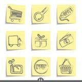 Serie del post-it - compras del Internet Imagen de archivo libre de regalías