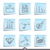 Serie del post-it - finanzas Imagenes de archivo