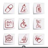 Serie del post-it - médica Fotografía de archivo