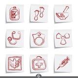 Serie del post-it - médica Imagen de archivo libre de regalías