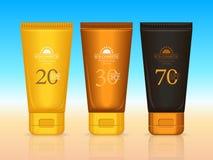 Serie del profesional de los cosméticos de Sun El bronceado bate Stock de ilustración