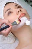 Serie del salone di bellezza. applicazione facciale della mascherina Fotografia Stock