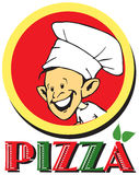 Serie del trabajo - pizzaiolo y pizza Fotografía de archivo