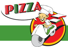 Serie del trabajo - pizzaiolo y pizza foto de archivo