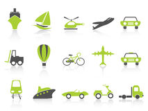 Serie del verde de la naturaleza de los iconos del transporte Fotografía de archivo libre de regalías