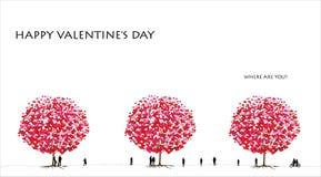 Serie dell'albero di amore, giorno del biglietto di S. Valentino - 01 di 06 illustrazione di stock