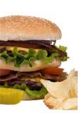 Serie dell'hamburger (cheesburger della pancetta affumicata con il sottaceto e le patatine fritte) Fotografia Stock