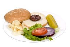 Serie dell'hamburger (parte posteriore di taglio) Fotografie Stock