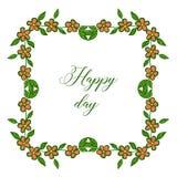 Serie dell'illustrazione di vettore bella di telai del fiore per nozze felici di giorno della carta illustrazione vettoriale
