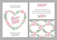 Serie della carta dell'invito di nozze con il fiore della margherita Fotografia Stock Libera da Diritti