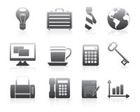 Serie della siluetta fissata icone di affari Immagine Stock