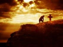 Serie della traversa di Calvary - preghiera Fotografia Stock Libera da Diritti