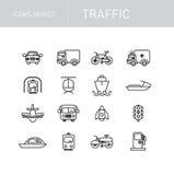 Serie delle icone di traffico isolata su bianco Fotografie Stock