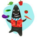 Serie dello squalo di Sharky nella cucina, con i lotti dei veggies illustrazione di stock