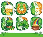 Serie determinada 4 del icono del día del St. Patrick Imagen de archivo
