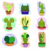 Serie determinada del cactus stock de ilustración