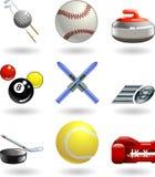 Serie determinada del icono brillante de los deportes Imagen de archivo libre de regalías