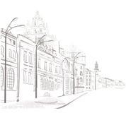 Serie di abbozzi delle vie in vecchia città Fotografie Stock