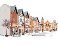 Serie di ambiti di provenienza decorati con le vecchie viste della città ed i caffè della via illustrazione vettoriale