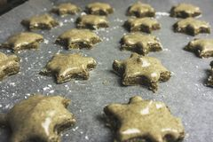 Serie di biscotti glassati della stella della cannella pronti ad essere al forno - horiz Immagine Stock